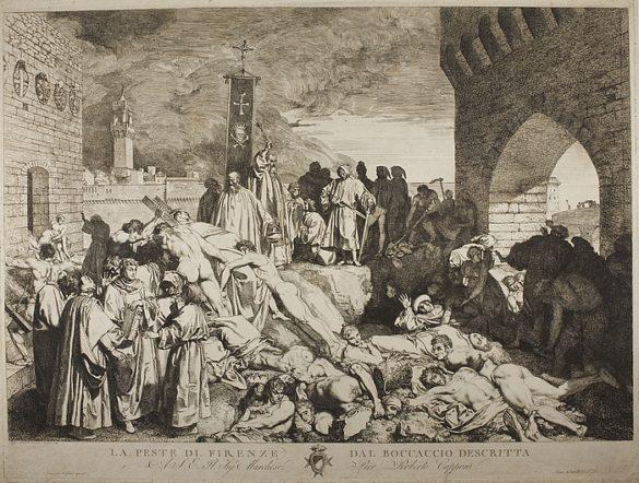 """Firenze con la mascherina e la """"buona e onesta compagnia"""" del Decameron di Boccaccio, che si concede storie, vino e buon cibo"""